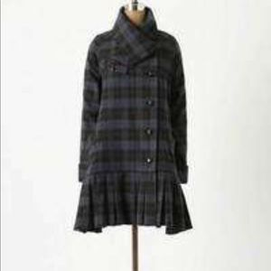 Anthropologie Elevenses Tartan Swing Coat